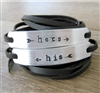 His and Hers Bracelets, Set of 2 Leather Wraps