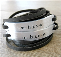 His and His Bracelets, Set of 2 Leather Wraps