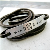 Monogram Bracelet, leather wrap, unisex