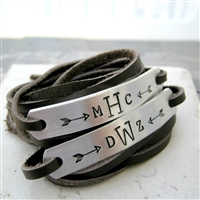 Monogram Bracelets, leather wraps, unisex
