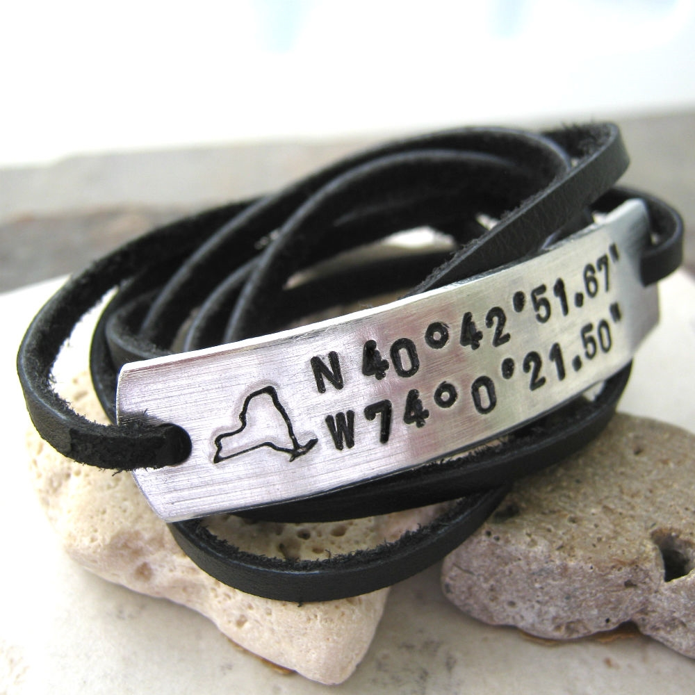 Personalized Longitude Laude Leather Wrap Bracelet With State Stamp