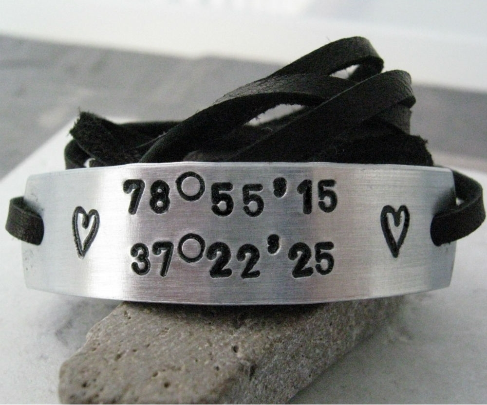 ecb9a6f449b8b Personalized Longitude Latitude Leather Wrap Bracelet, unisex