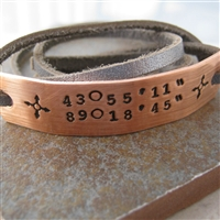 Copper Latitude Longitude Bracelet
