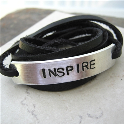Inspire Bracelet, Leather Wrap, Choose your color