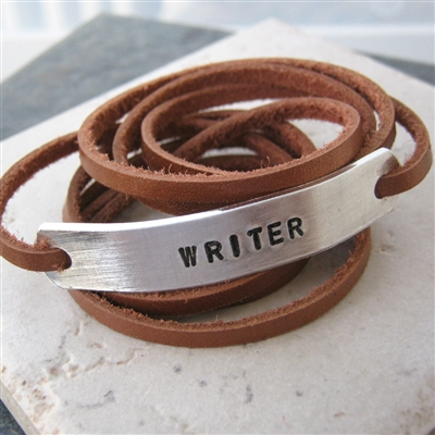 Writer Bracelet, Leather Wrap, Choose your color and wording