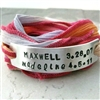 Personalized Mothers Bracelet, Silk Ribbon Wrap