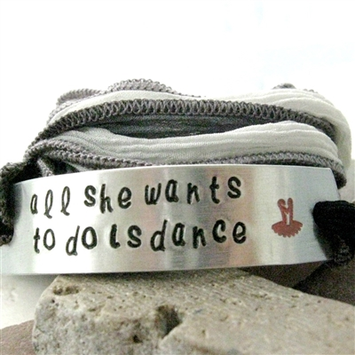 All She Wants to Do is Dance Silk Ribbon Wrap Bracelet
