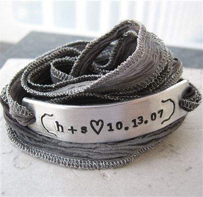 Personalized Anniversary Bracelet, silk ribbon wrap