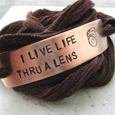 Photography Wrap Bracelet, I Live Life Thru a Lens, silk ribbon