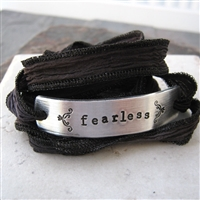 Fearless Bracelet, silk ribbon wrap