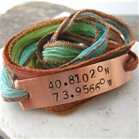 Latitude Longitude Wrap Bracelet, Terracotta Twist