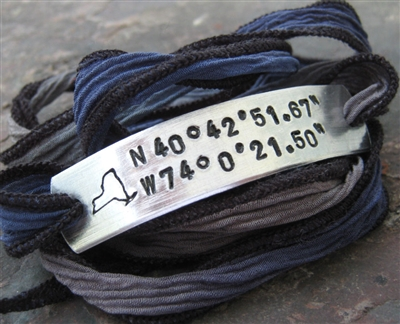 New York City State Longitude Latitude Wrap Bracelet