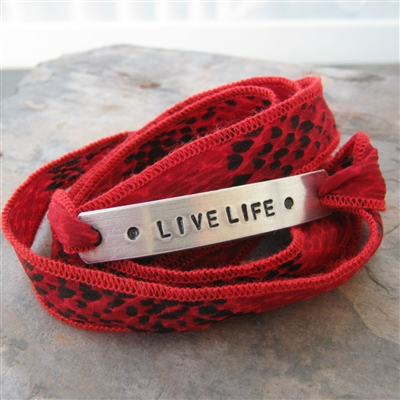 Live Life Ribbon Bracelet in Red Rattlesnake