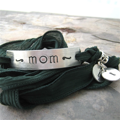 Mom Bracelet, Personalized Initial Charms, silk ribbon