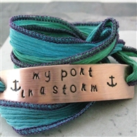 My Port In a Storm Wrap Bracelet in deep blue sea ribbon