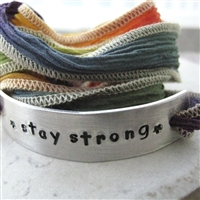 Stay Strong Bracelet, Rainbow Silk Ribbon Wrap