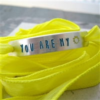 You Are My Sunshine Bracelet, Lemon Drop silk ribbon