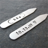 Anniversary Date Collar Stays with initials, aluminum, bronze, or copper