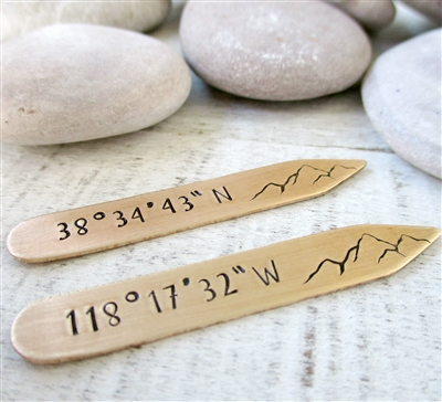Mountain Collar Stays, Choose your coordinates and metal