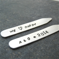 We Love Daddy Collar Stays with kid's initials and year, Father's Day Gift