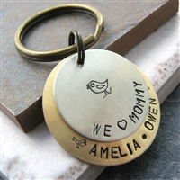 Personalized Mother's Day Key Ring, Momma Bird