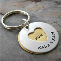 Personalized Mother's Key Chain, 2 Layers, secret message