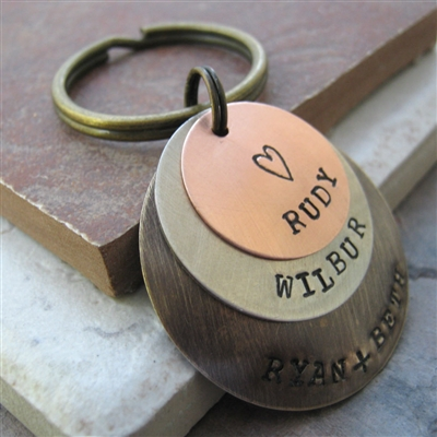 Men's Personalized Key Chain, 3 Layers