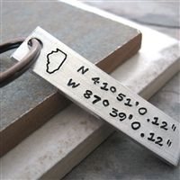 Longitutde Latitude Key Chain with state stamp