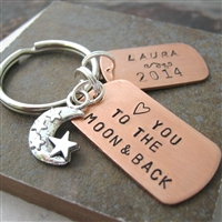 Personalized Love You To The Moon and Back Key Chain
