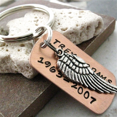Personalized Memorial Angel Wing Key Chain