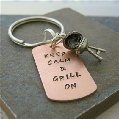 Keep Calm & Grill On, BBQ Grill Key Chain