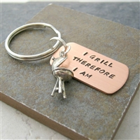I Grill Therefore I Am, BBQ Grill Key Chain