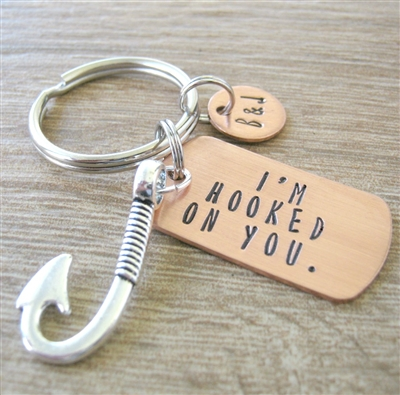 I'm Hooked on You Keychain with Fish Hook Charm