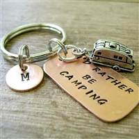 Camper Key Chain, I'd Rather Be Camping with camping trailer charm
