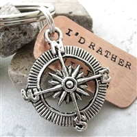 I'd Rather Be Hiking Key Chain, Compass charm