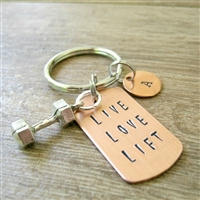 Live Love Lift Barbell Key Chain