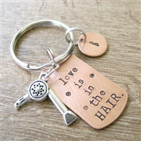 Hairdresser Keychain, Love is in Hair, blow dryer charm