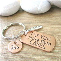 I Love You More Than Carbs Keychain with baguette charm