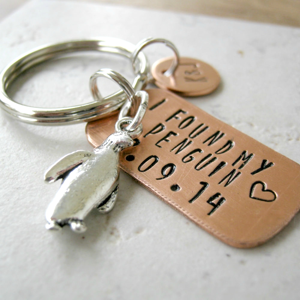 Personalized I Found My Penguin Keychain Anniversary Date Optional Initial Disc Anniversary Gift Engagement Gift Wedding Gift