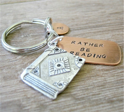 Rather Be Reading Key Chain with book charm