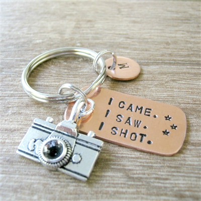 Photographer Key Chain with camera charm, I Came. I Saw. I Shot