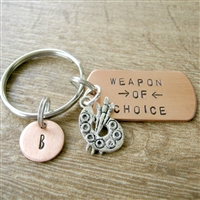 Personalized Artist Keychain, Weapon of Choice