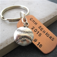 Personalized Baseball Player Key Chain