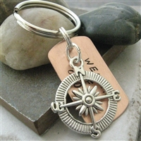 Compass Keychain, Weapon of Choice, copper dog tag with charm