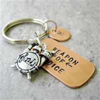 Drum Keychain, Weapon of Choice, copper dog tag with drum set charm