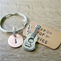 Guitar Key Chain, weapon of choice, accoustic guitar, musician gift