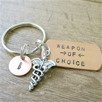 Medical Caduceus Key Chain, Doctor's Gift, Weapon of Choice