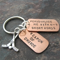 Personalized Hockey  Key Chain, Choose your sport