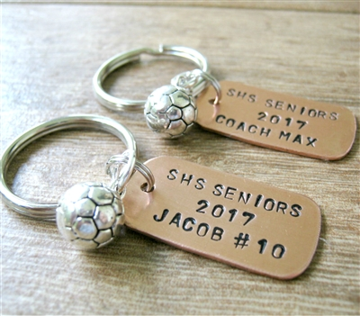 Personalized Soccer Player Key Chains