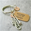 Trombone Key chain, Weapon of Choice, copper dog tag with trombone charm